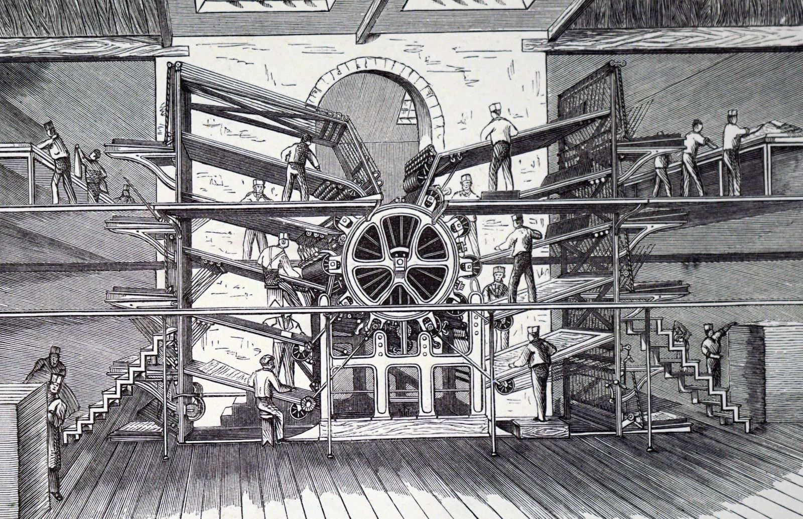 Engraving depicting Richard March Hoe s ten feeder rotary printing press Richard March Hoe 1812 18