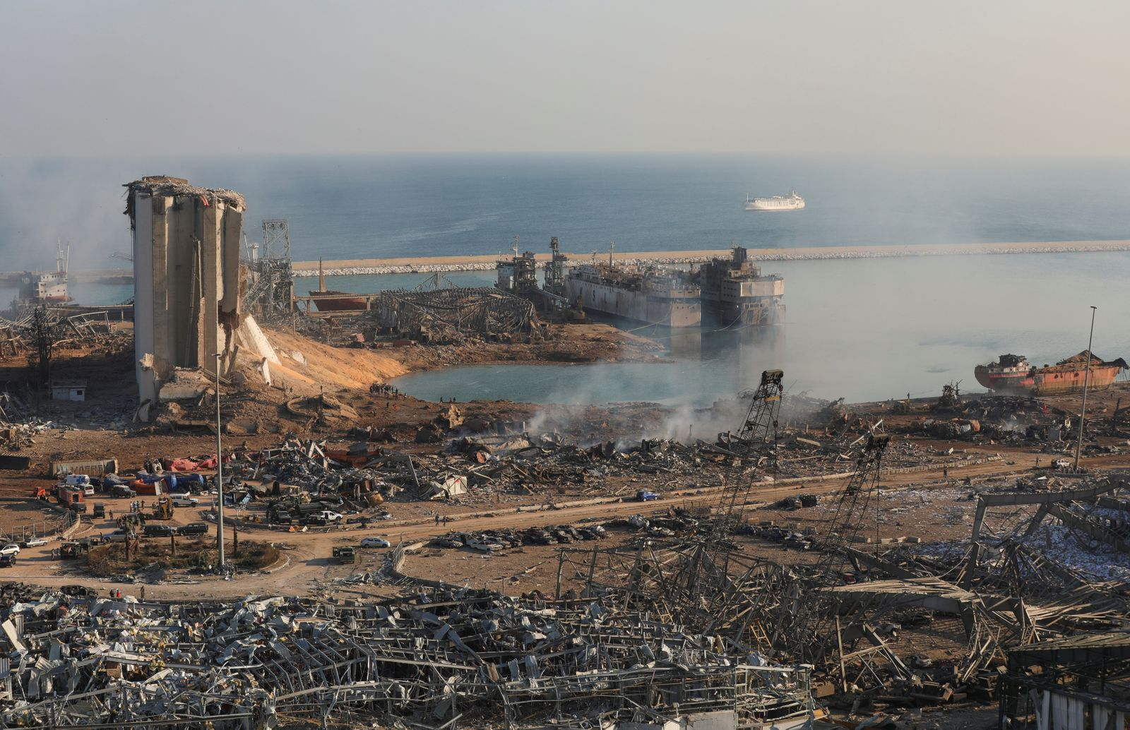 A general view shows the damage at the site of Tuesday's blast in Beirut's port area