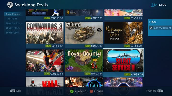 Angebote für Steam OS: Über tausend Spiele sind aktuell verfügbar