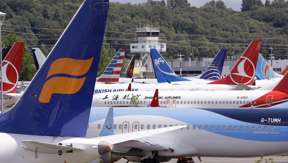 Müssen bis auf Weiteres am Boden bleiben: Maschinen vom Typ 737 Max auf einem Flugfeld in Seattle