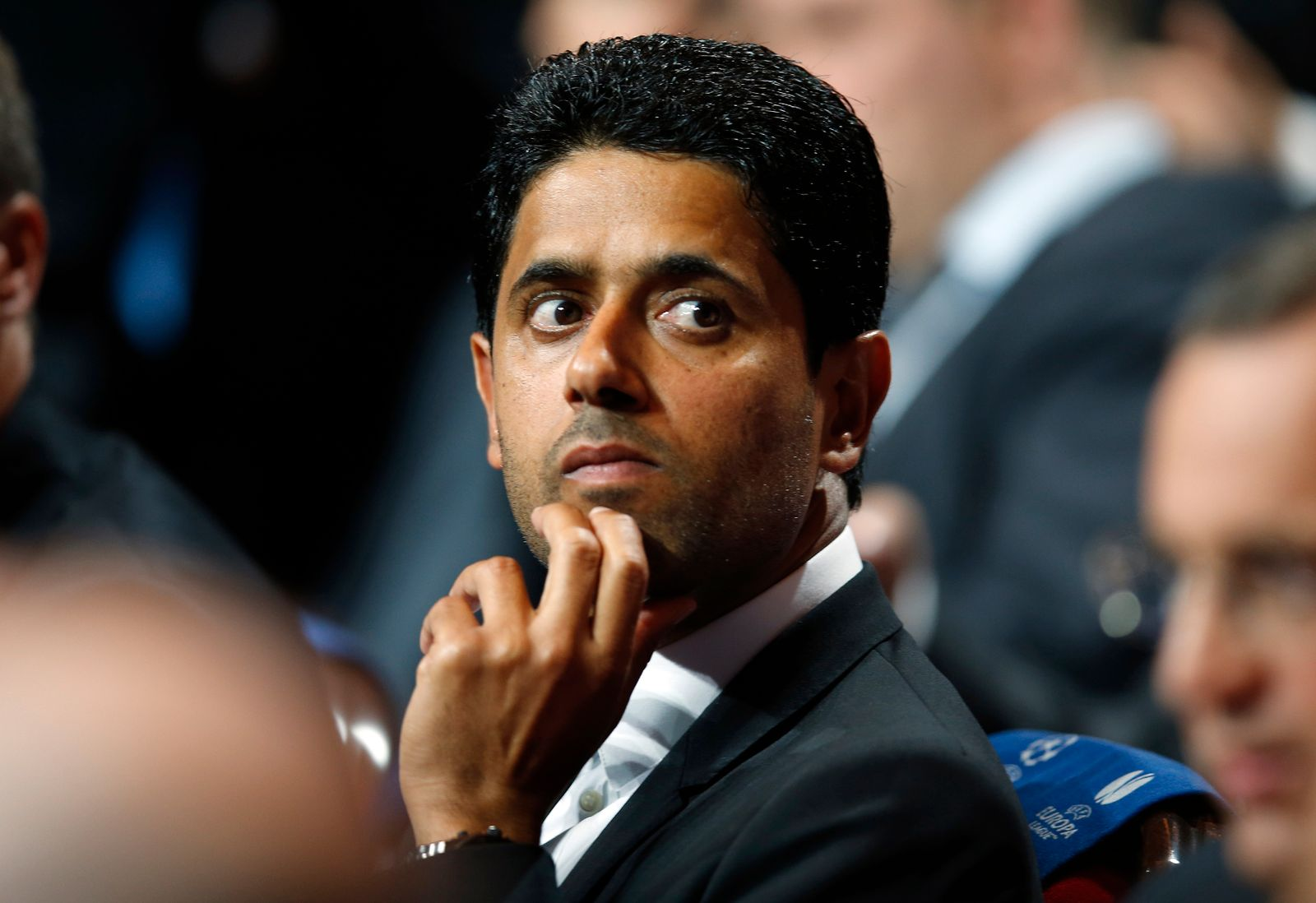 Paris St Germain's club president Nasser al-Khelaifi is seen during the draw ceremony for the 2014/2015 Champions League soccer competition in Monaco