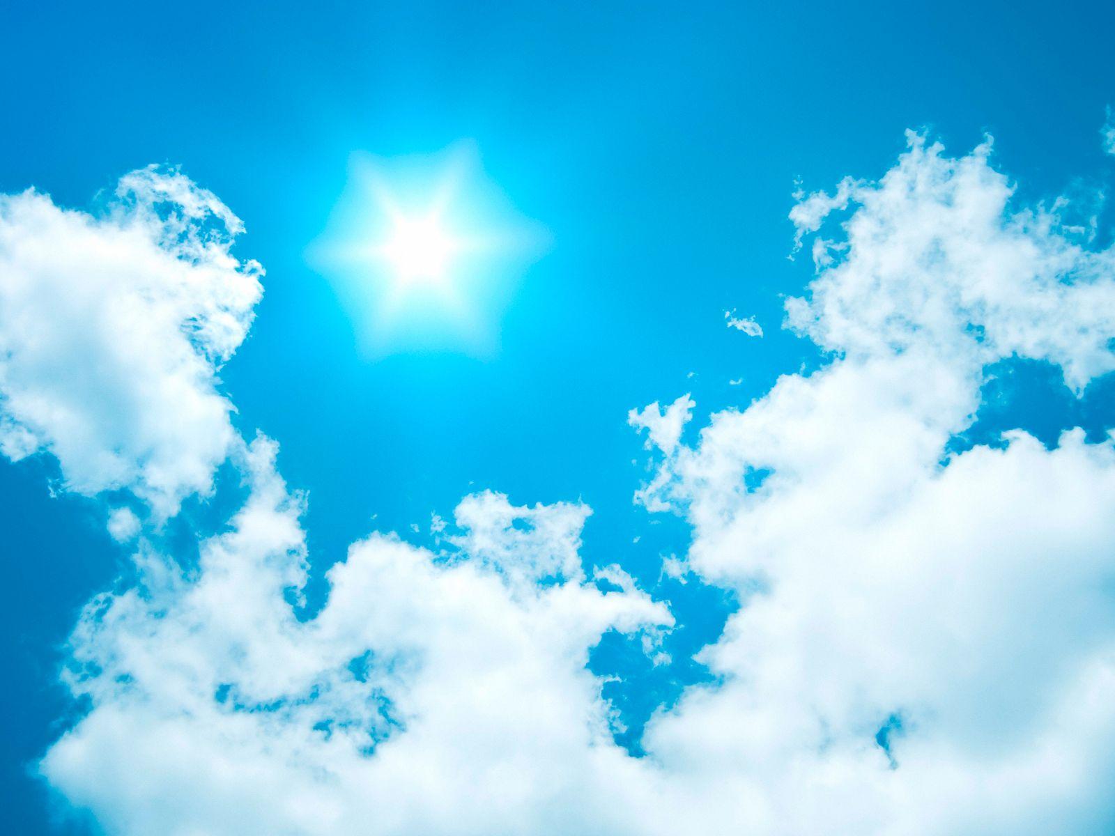 blauer Himmel mit Sonne und Wolken, Deutschland, Bayern blue sky with sun and clouds, Germany, Bavaria BLWS615197 Copyri