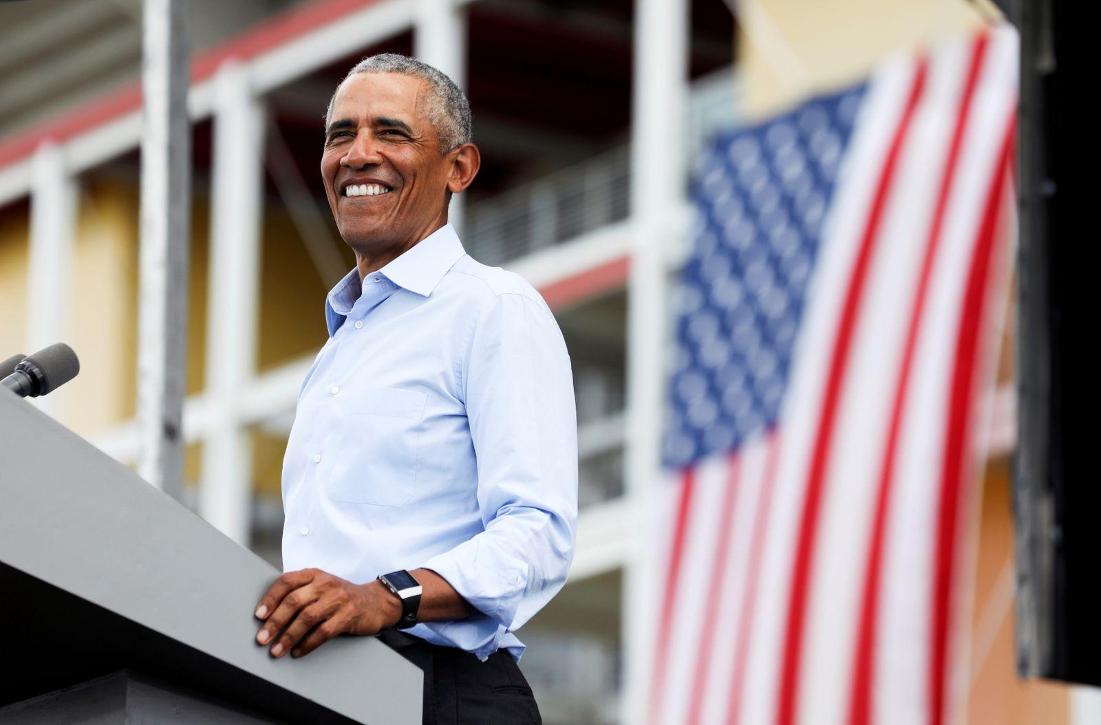 Former U.S. President Barack Obama hosts a drive-in rally in Orlando