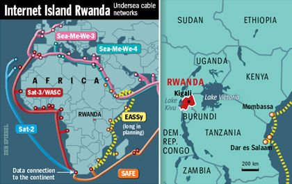 """Rwanda is """"essentially an Internet island,"""" with the only robust satellite uplinks in Africa's interior. The next step is to lay fiber-optic cable."""