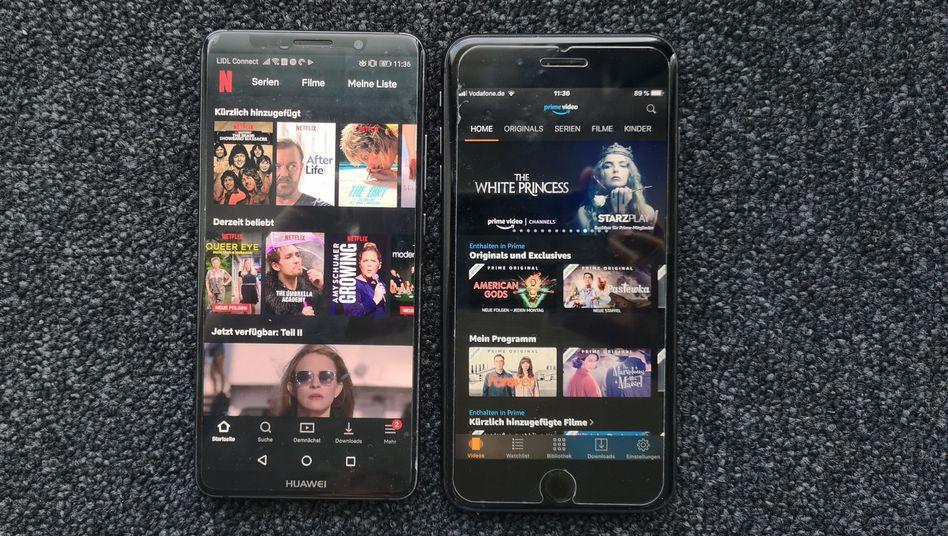Apps von Netflix und Amazon Prime Video