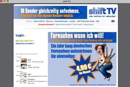 Angebot von Shift.tv: Für 4,99 Euro Fernsehsendungen aufnehmen und aus dem Web laden