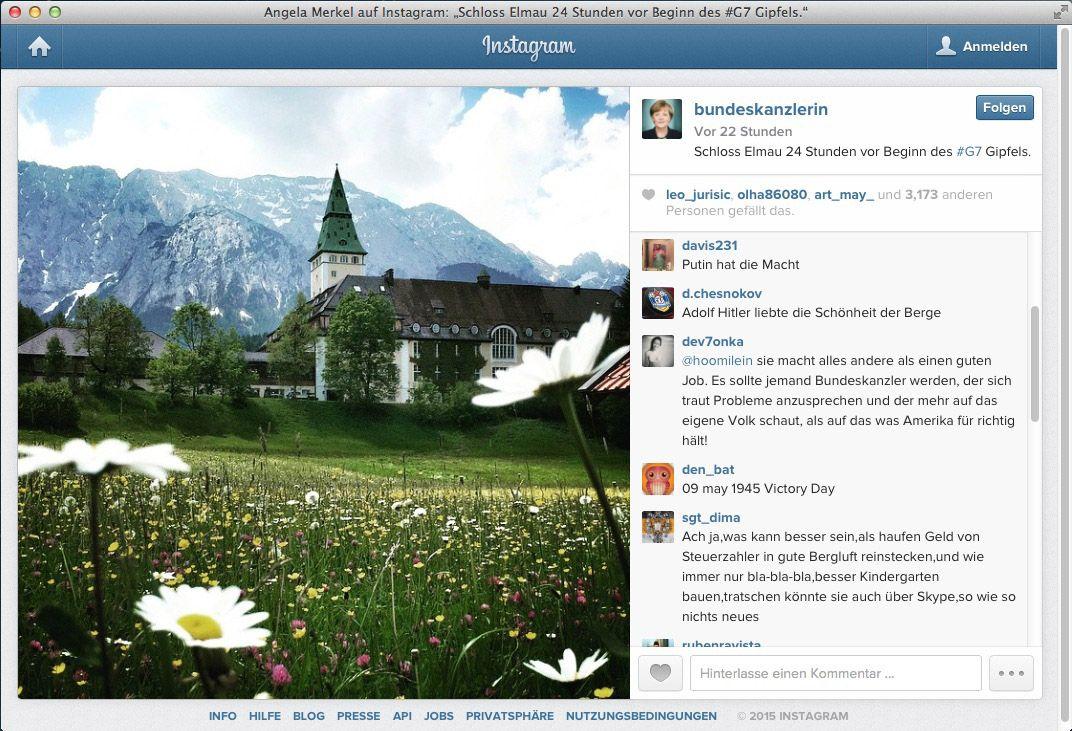 EINMALIGE VERWENDUNG Instagram/ Bunderkanzlerin/ Merkel/ Kreml-Trolle