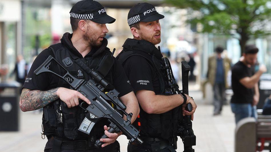 Polizeipatrouille in Manchester