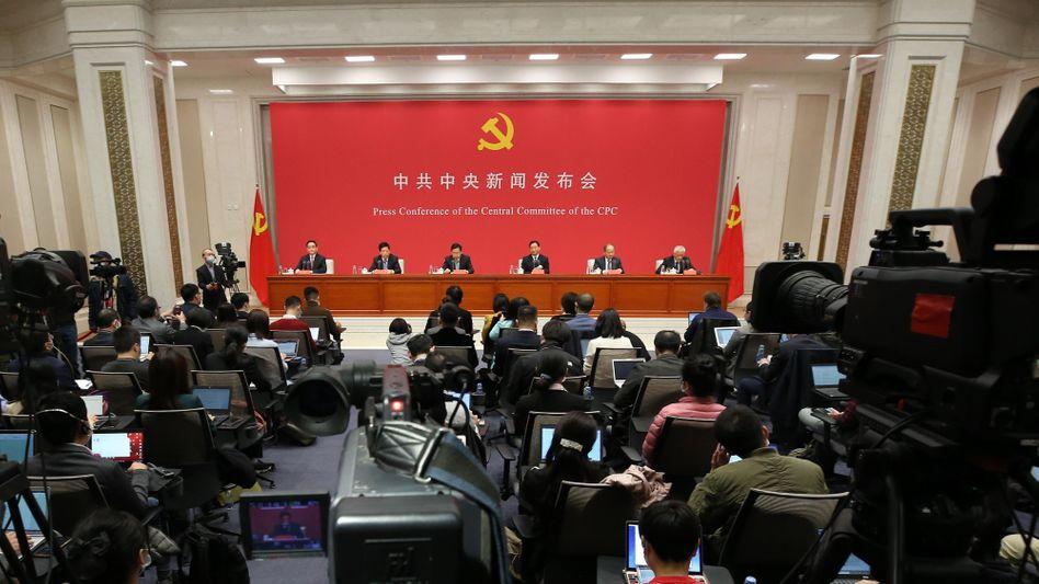 Geregelte Arbeit: eine Pressekonferenz in Peking