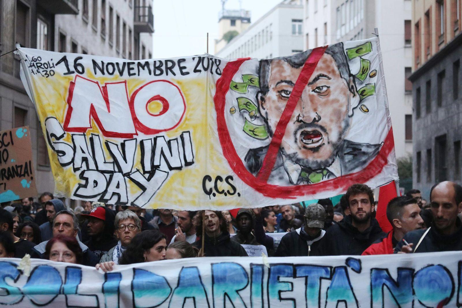 Italy Europe Migrants Salvini protest