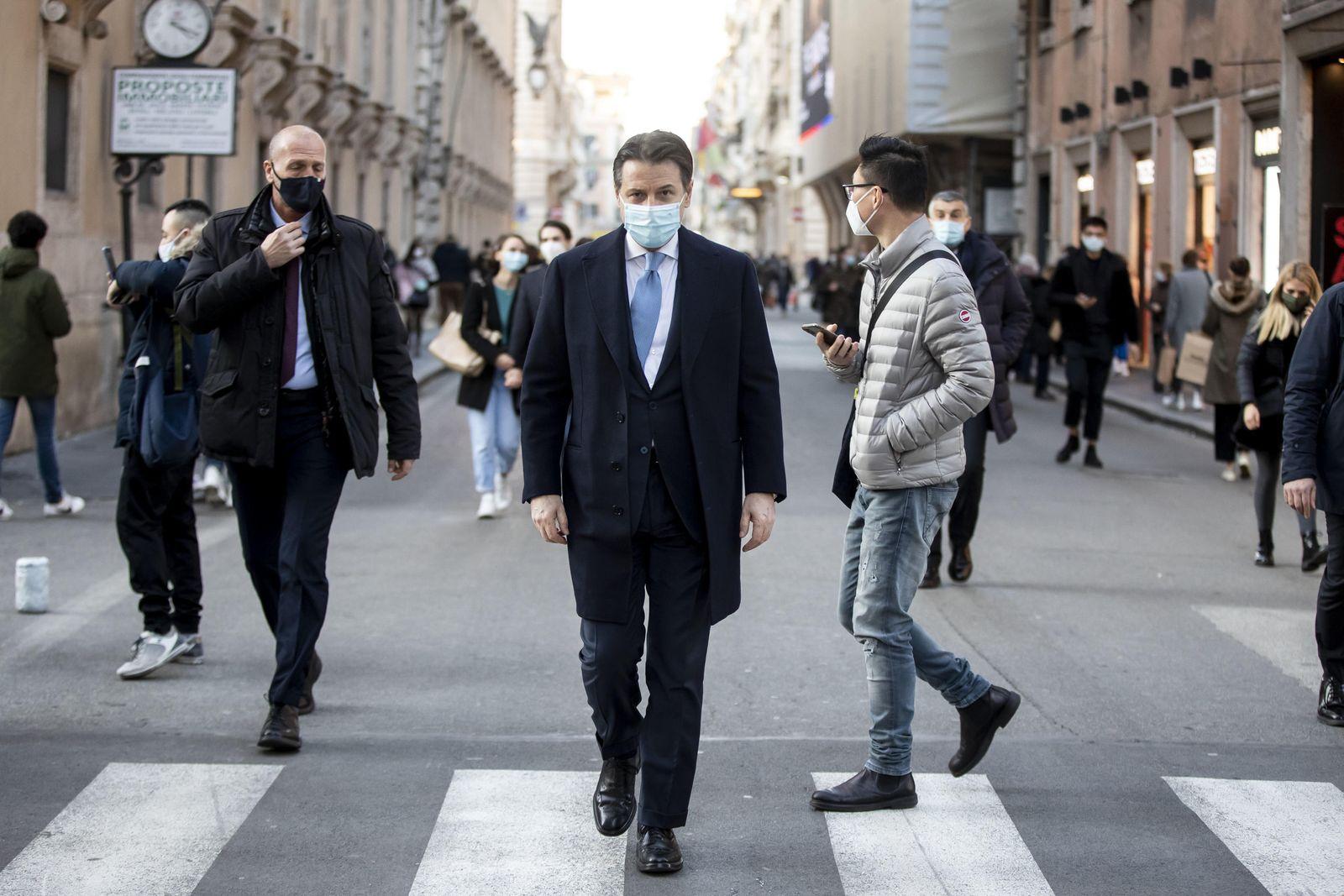 Italian Prime Minister Giuseppe Conte in Rome, Italy - 12 Jan 2021