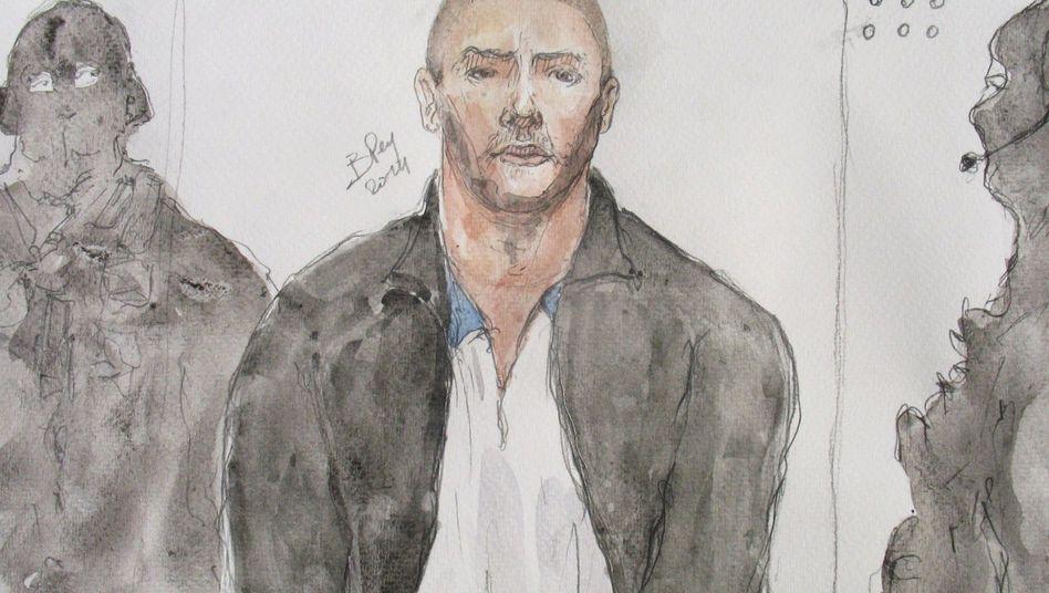 Gerichtszeichnung von Mehdi Nemmouche: Der mutmaßliche Attentäter soll in Syrien Geiseln gefoltert haben