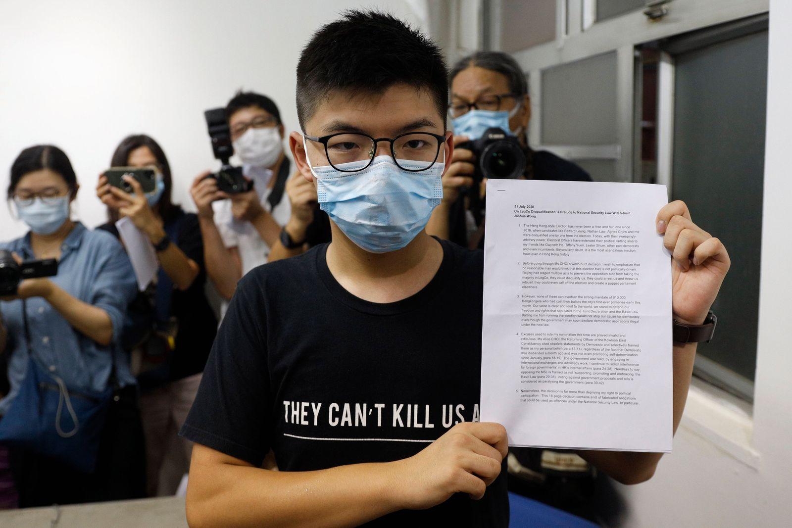 Wong und elf Aktivisten von Wahl in Hongkong ausgeschlossen