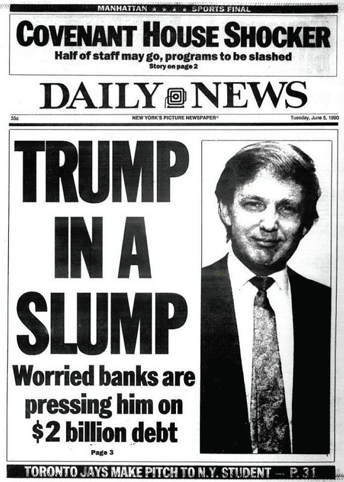 The front page of the New York Daily News reporting on how close Trump's casinos were to bankruptcy in 1990.