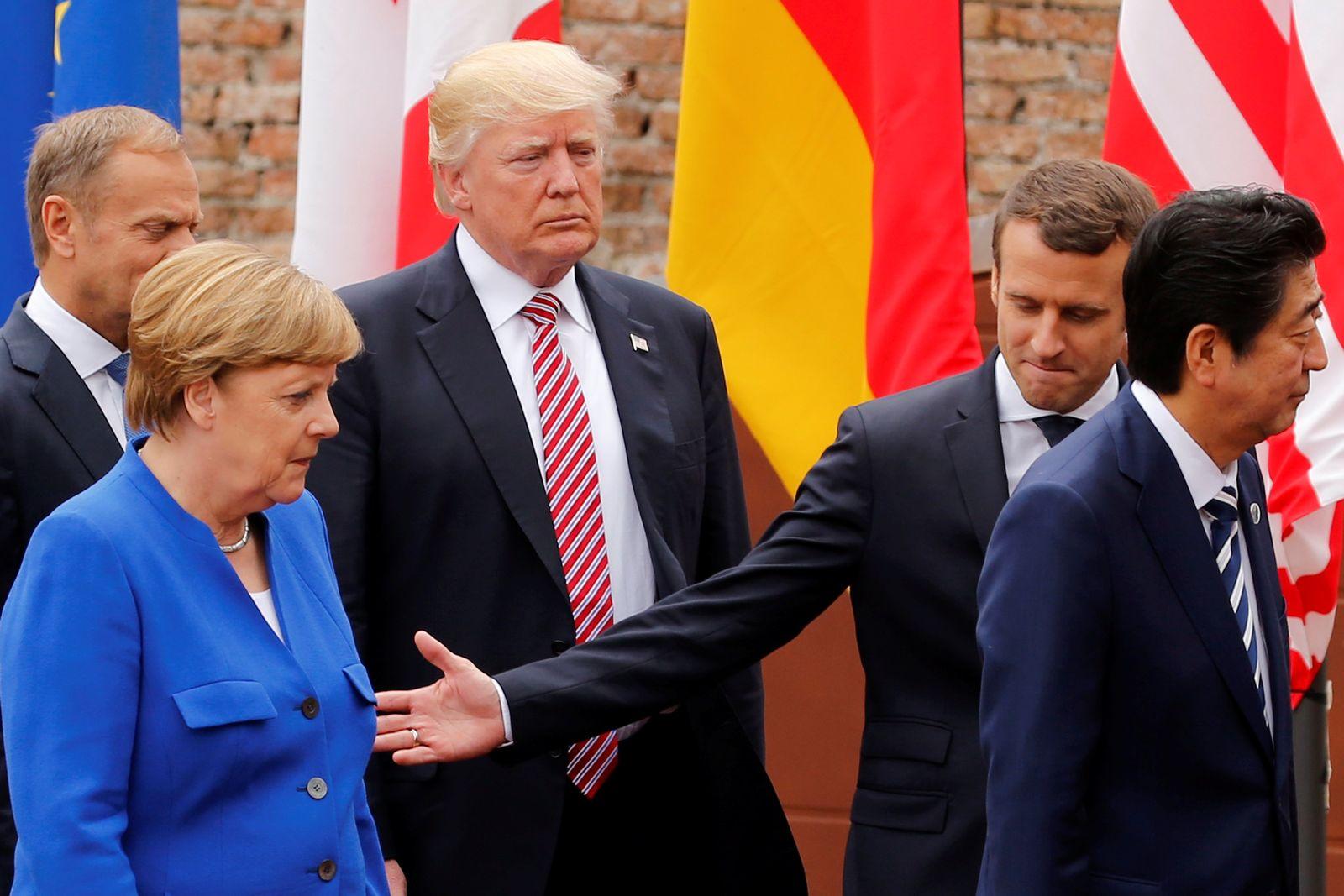 Merkel, U.S. President Donald Trump, French President Emmanuel Macron