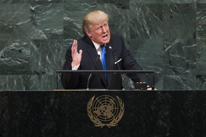 Trump bei seiner Uno-Rede 2017