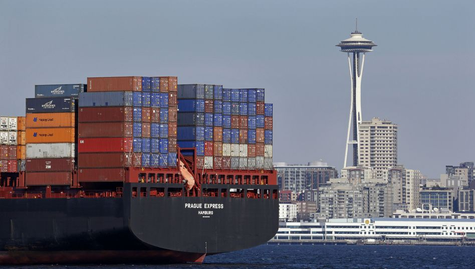 Containerschiff in Seattle