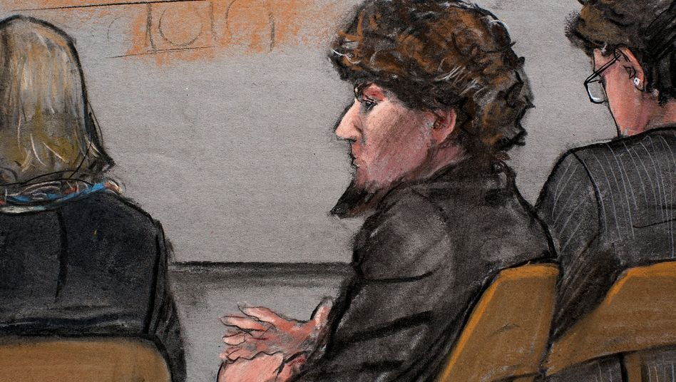 Zeichnung aus dem Gerichtssaal in Boston: Dschochar Zarnajew