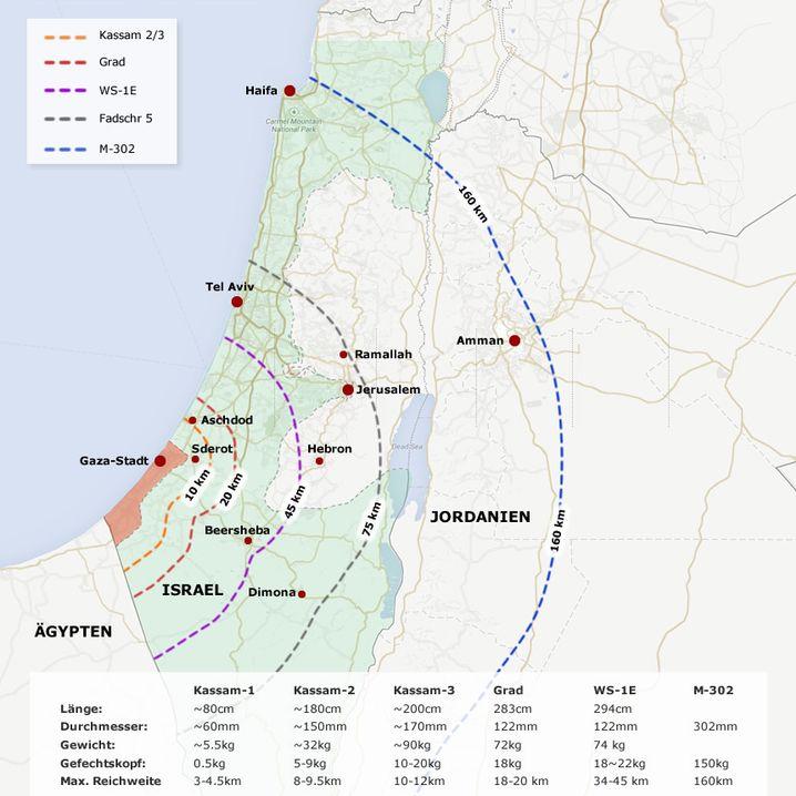 Reichweiten der Hamas-Raketen