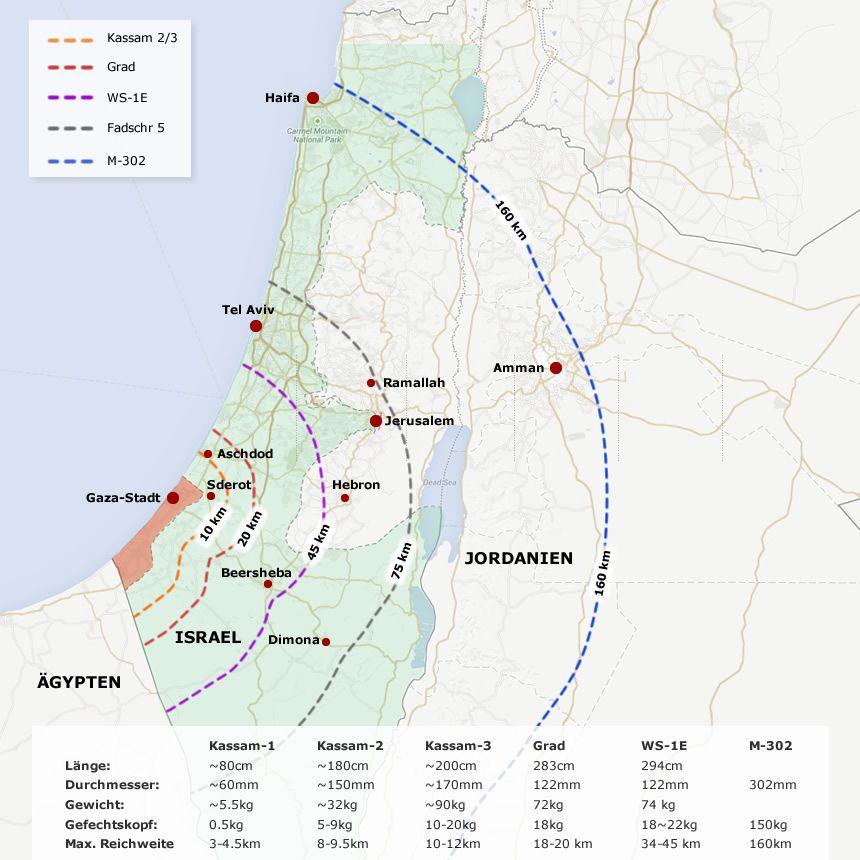 Karte Gaza Raketen Hamas Radien V3