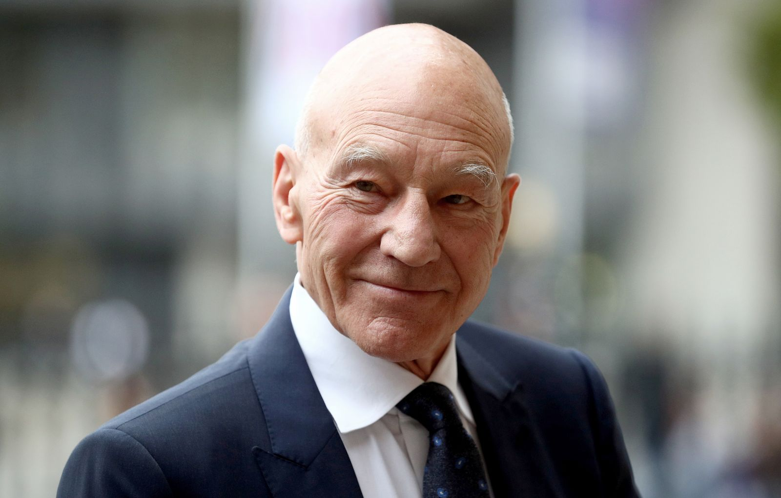 Actor Patrick Stewart attends a Service of Thanksgiving for Sir Peter Hall at Westminster Abbey in London