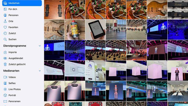 Einfach mal Platz machen: Fotos-App links mit und rechts ohne Funktionsleiste