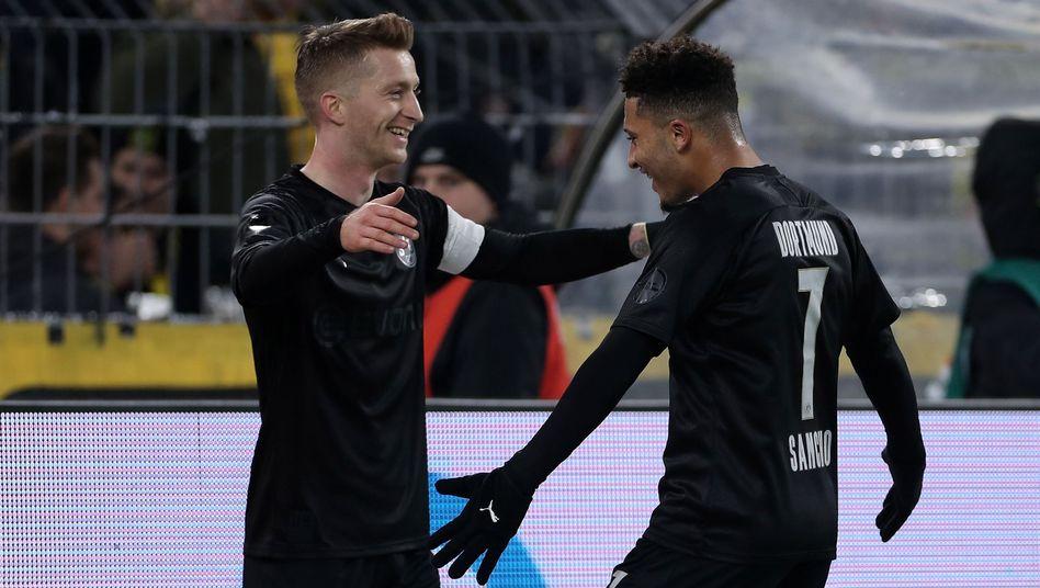 Beim 5:0 der Dortmunder gegen Düsseldorf gelangen Marco Reus (links) und Jadon Sancho jeweils zwei Treffer