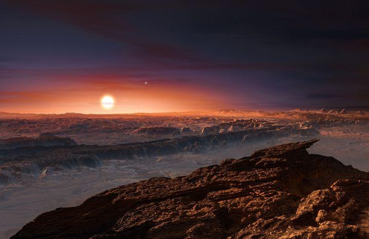 Planet Proxima b, künstlerische Darstellung: Galt als Lebenskandidat, ist aber möglicherweise zu hoher Strahlung ausgesetzt