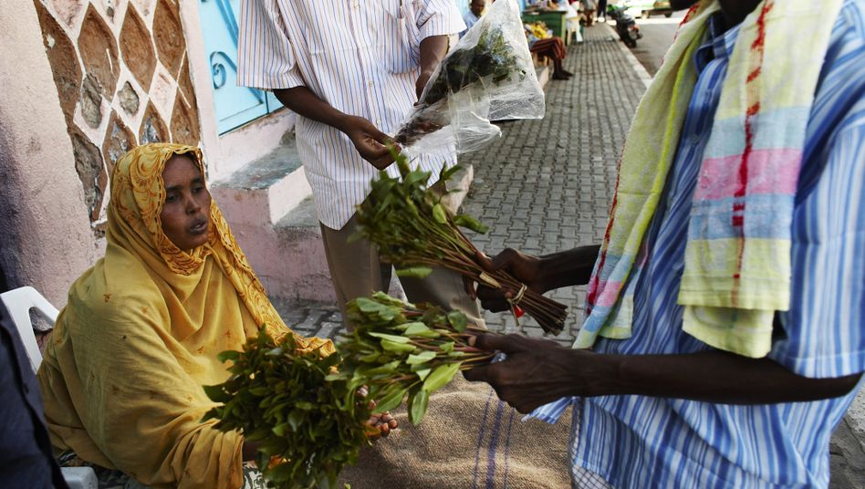 A man buys khat on a street in Djibouti (archive photo from December 2008)