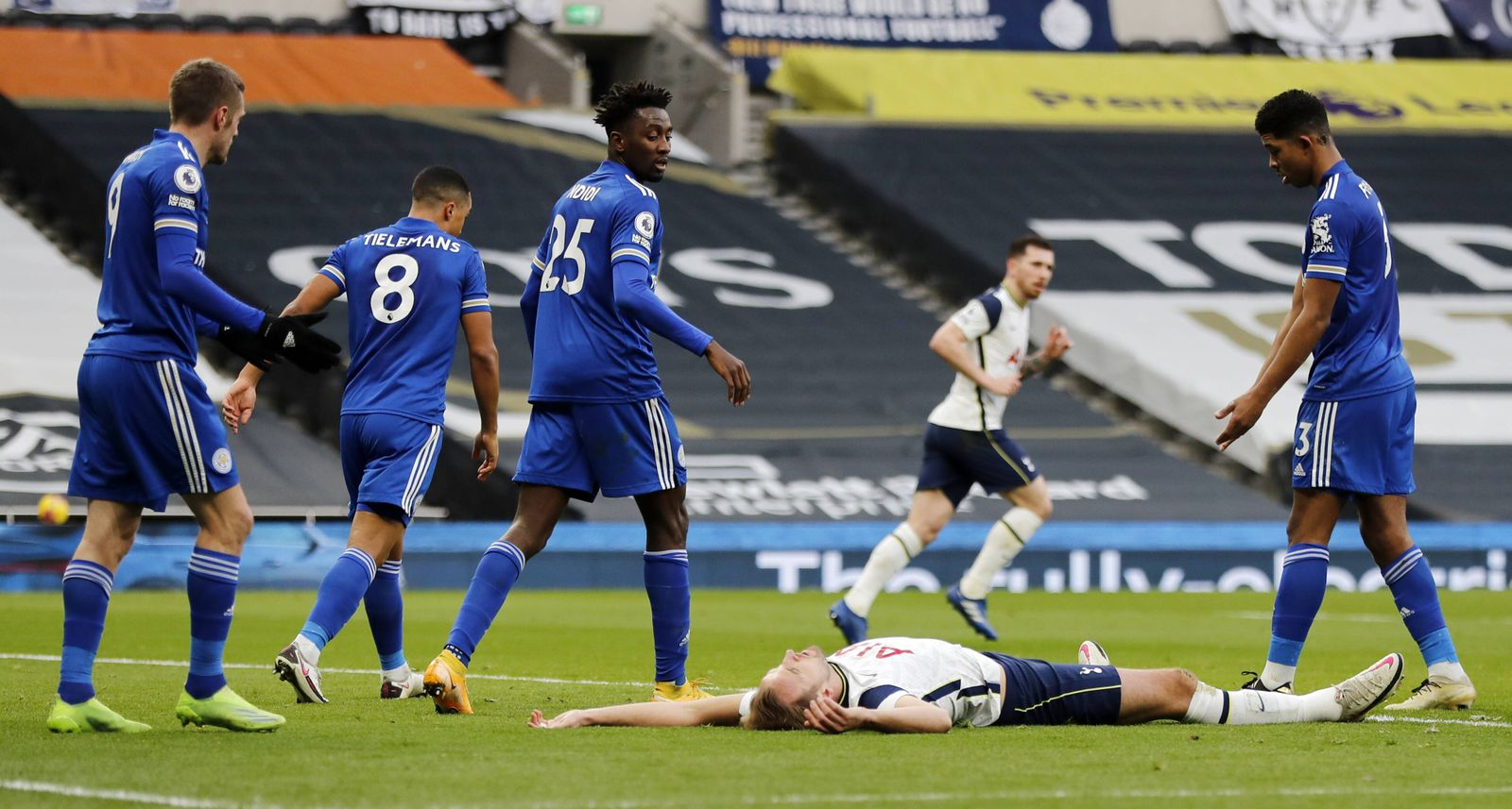 Tottenham Hotspur v Leicester City - Premier League - Tottenham Hotspur Stadium Tottenham Hotspur s Harry Kane reacts a