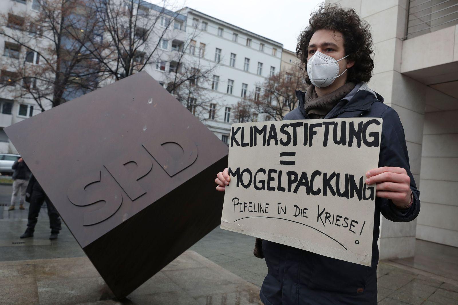 Environmental activists ciriticize Nord Stream 2 gas pipeline, Berlin, Germany - 12 Jan 2021