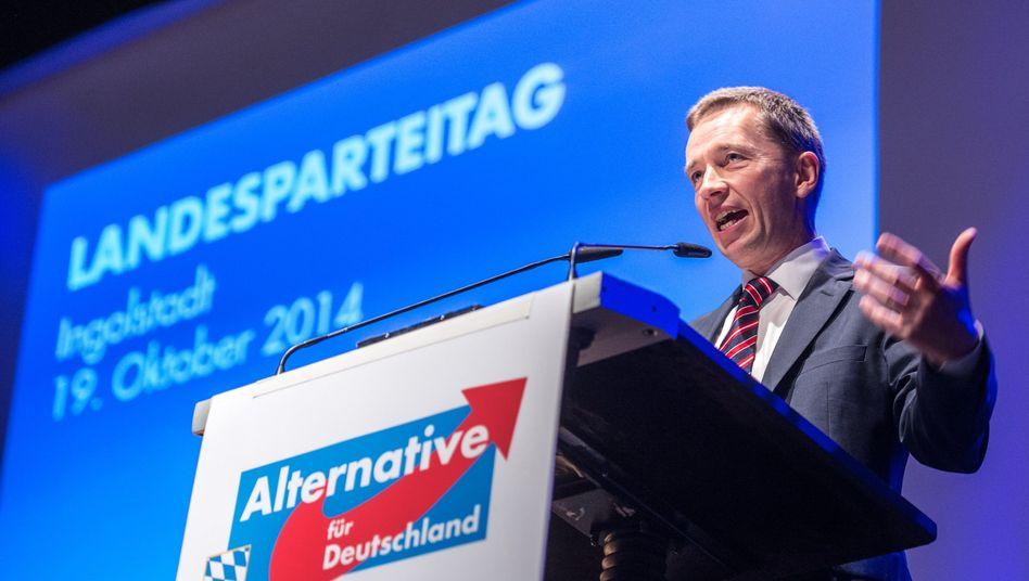 Bundesvorsitzende der AfD: Bernd Lucke bei seiner Rede auf dem bayerischen Landesparteitag in Ingolstadt