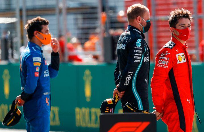 Lando Norris (links) und Charles Leclerc (rechts) profitierten von der Kollision von Lewis Hamilton