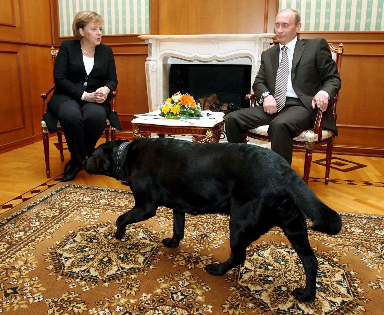 Merkel und Putin mit Hund in Sotschi 2007