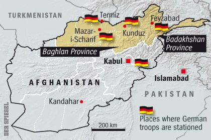 Graphic: Location of German forces in Afghanistan