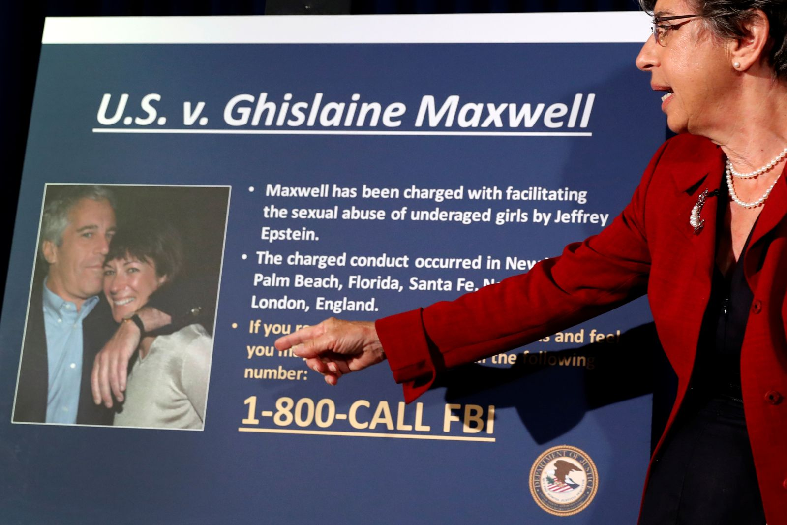 Audrey Strauss, Acting United States Attorney for the Southern District of New York announces charges against Ghislaine Maxwel in New York