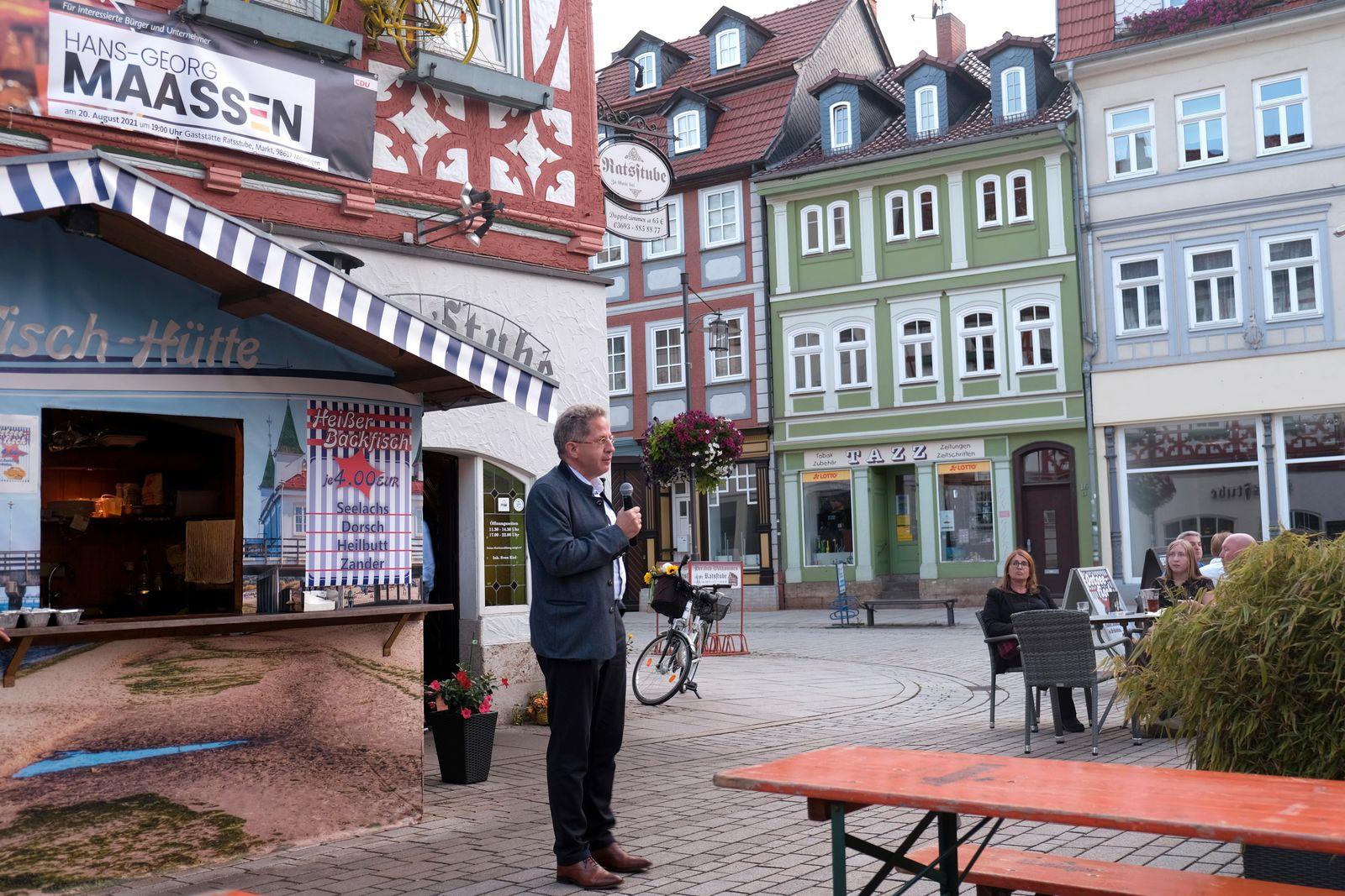 Conservative CDU candidate Hans-Georg Maassen addresses supporters in his constituency Meiningen