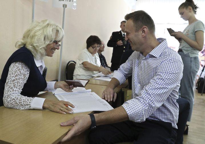 Abstimmen in Moskau: Der Oppositionelle Alexej Nawalny