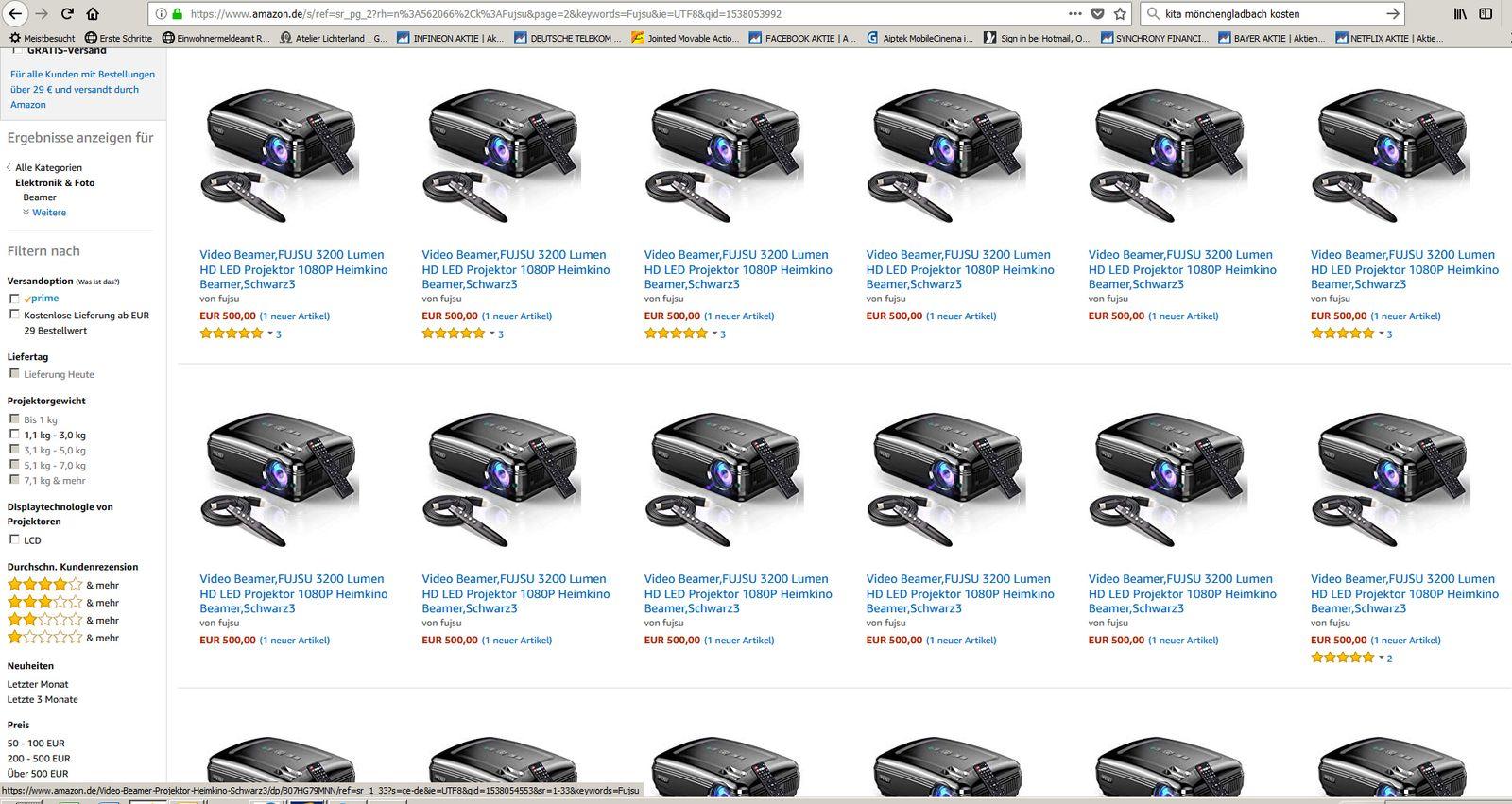 EINMALIGE VERWENDUNG Screenshot von Amazon Fujsu
