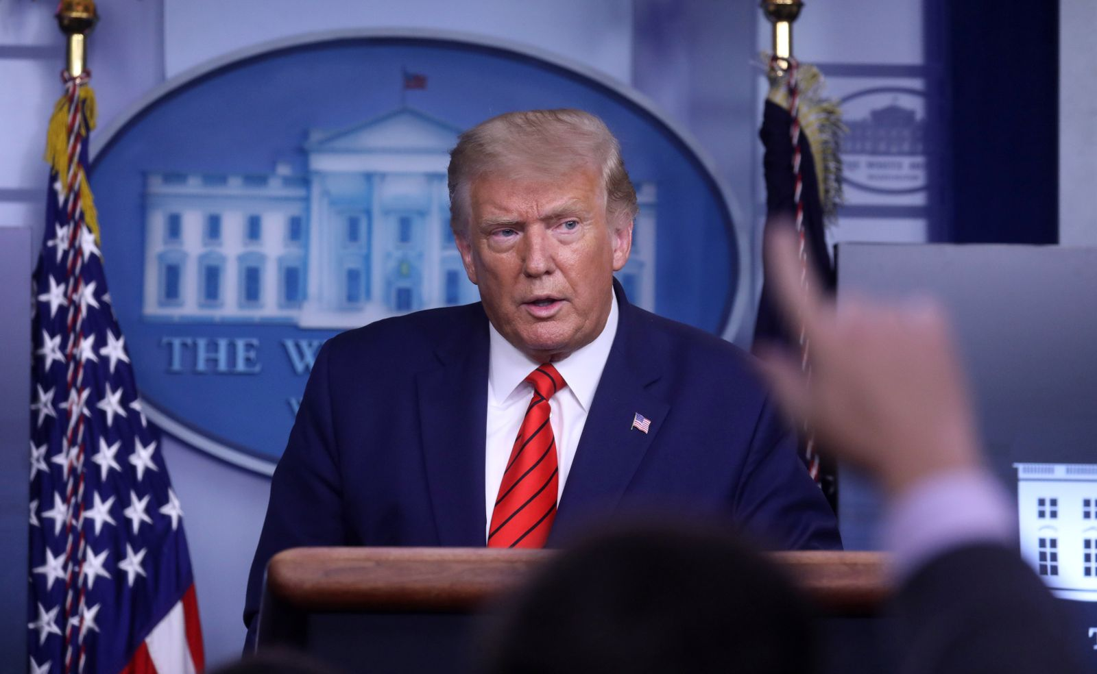 U.S. President Donald Trump conducts press conference in White House.