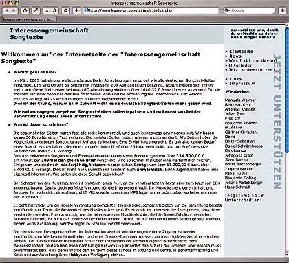 """""""Interessengemeinschaft Songtexte"""": Abmahnung für 1600 Euro"""