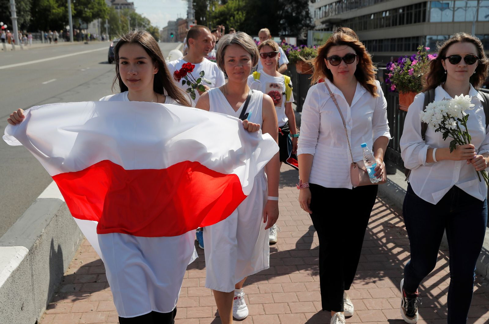 Demonstrators protest against presidential election results in Minsk
