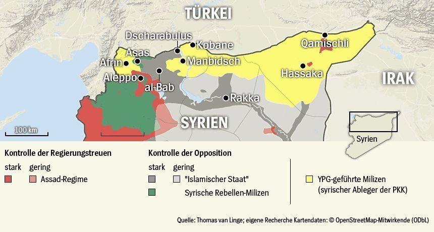 Karte Syrische Kurdengebiete 520