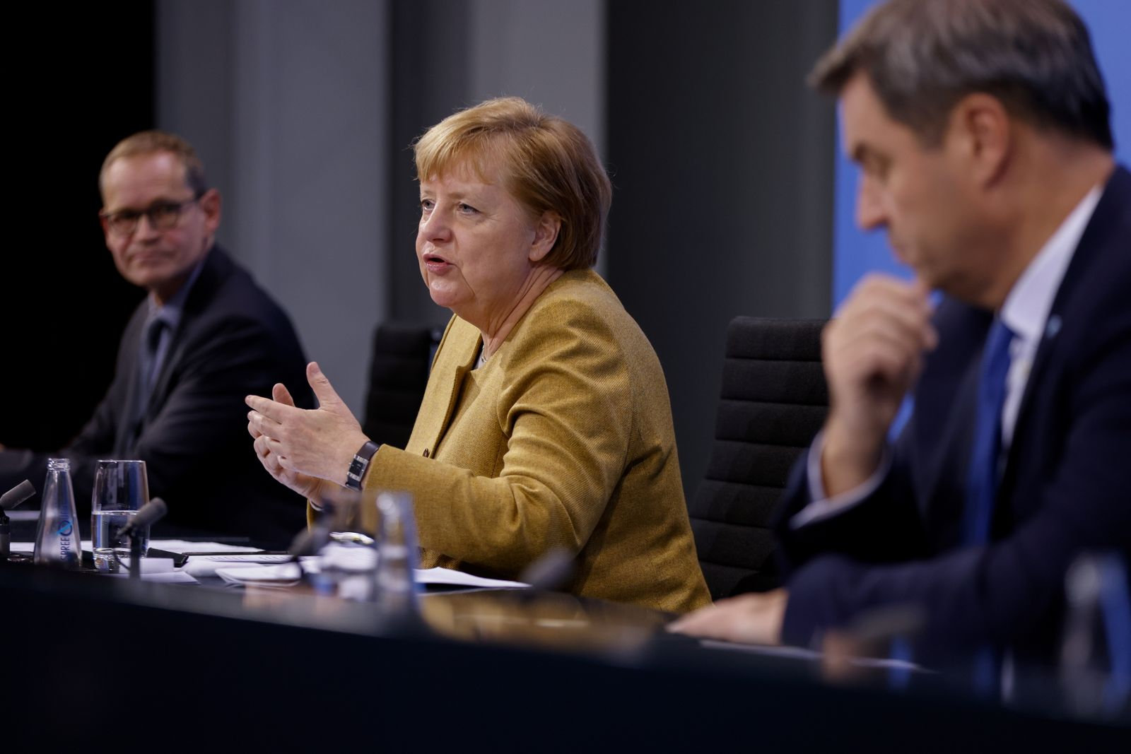 German Chancellor Merkel discuss coronavirus measures with federal state leaders
