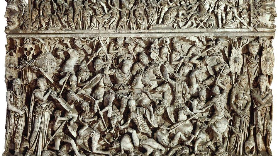 Darstellung einer Schlacht zwischen Germanen und Römern auf dem Sarkophag von Portonaccio Relief, entstanden um das Jahr 190
