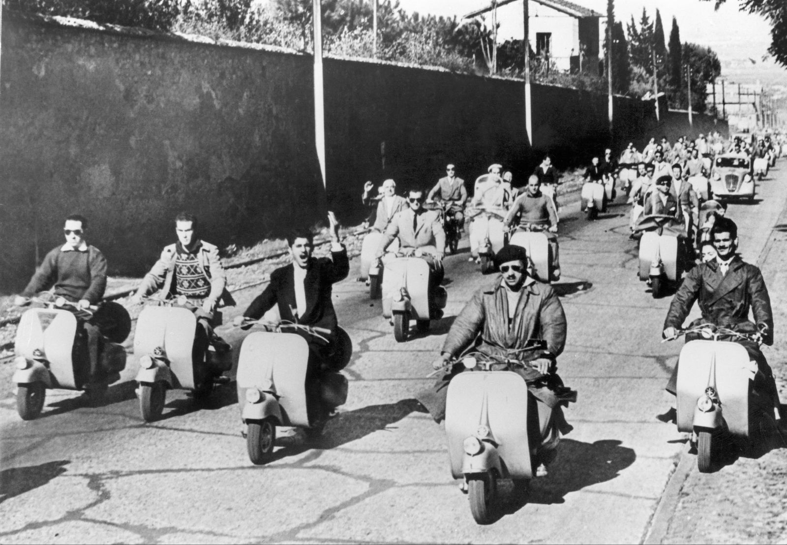 Vespa Scooter Race From Roma In Italy In 1949.