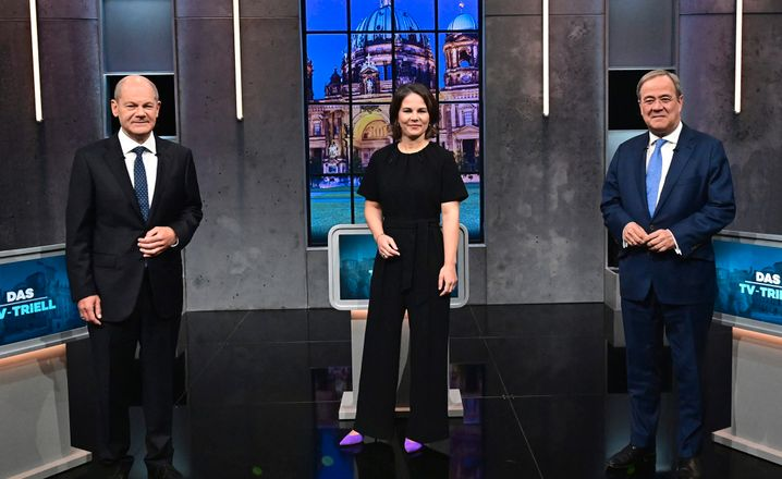 Olaf Scholz, Annalena Baerbock und Armin Laschet am 19. September beim dritten von drei TV-Triellen in diesem Wahlkampf
