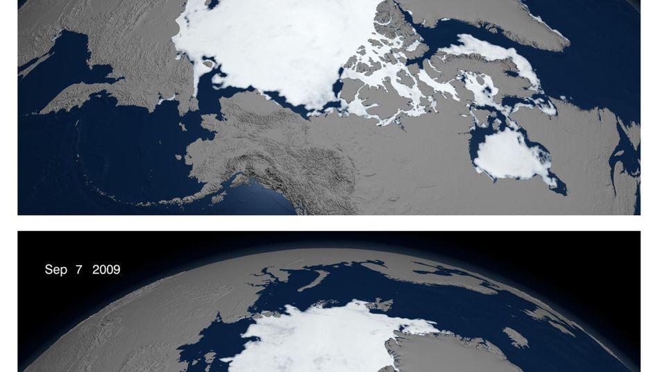 """Arktisches Eis (am 7. September 2009): """"Deutlich geringer als die Rechenmodelle des Weltklimarates prognostizieren"""""""
