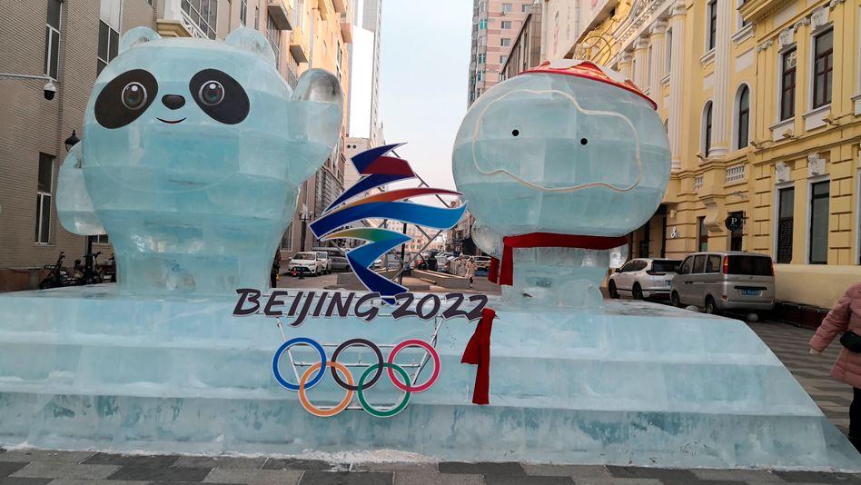 Die Maskottchen Bing Dwen Dwen und Shuey Rhon Rhon werben in Harbin für Olympia 2022