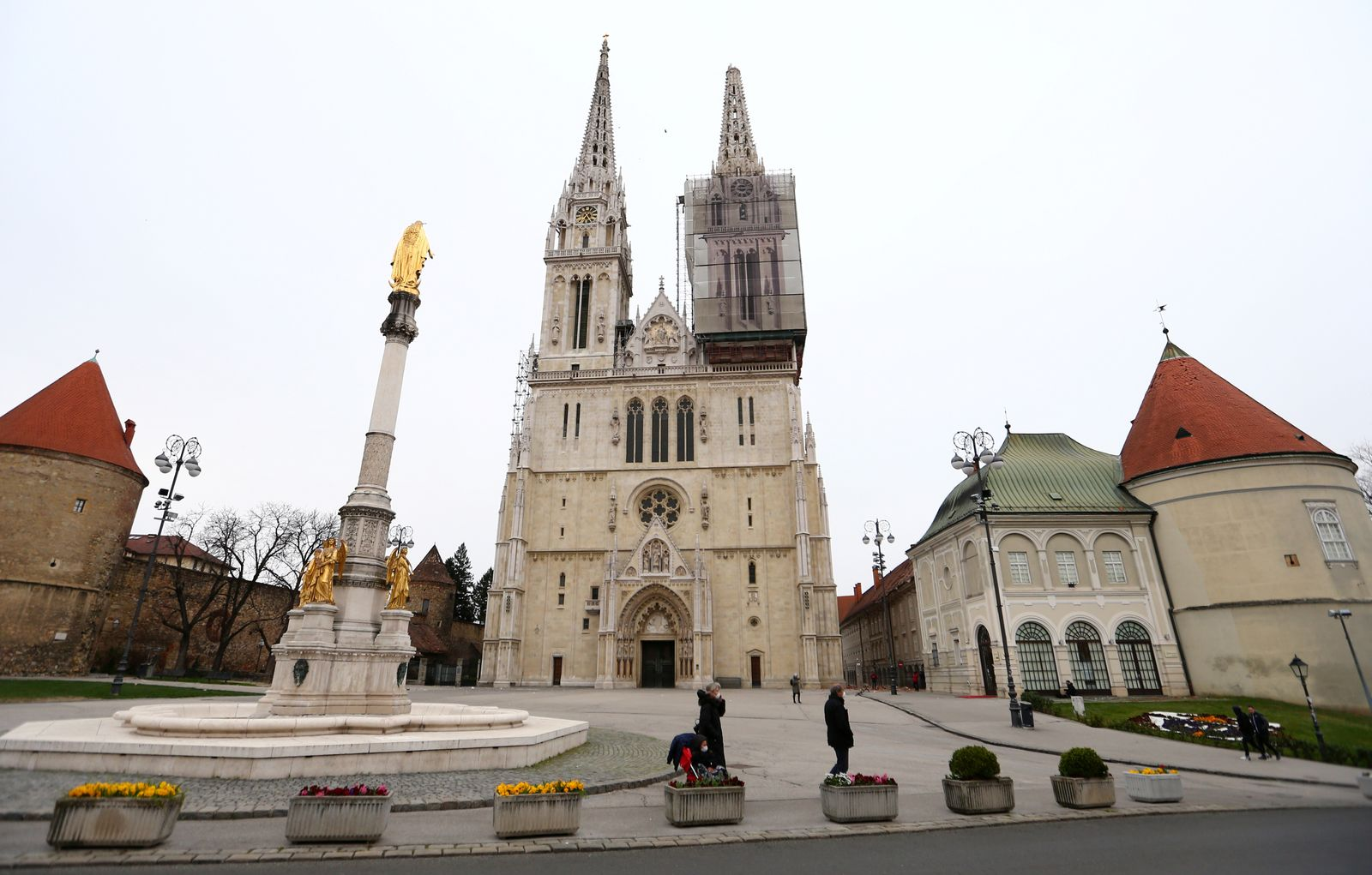 A general view shows damages in the cathedral of Zagreb after an earthquake, in Zagreb